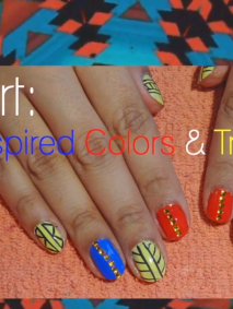 nail art spring inspired colors and tribal prints