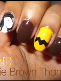 a chalie brown thanksgiving nail art