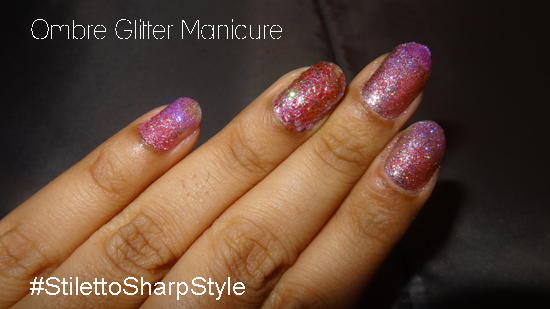 Ombre Glitter Manicure Valentine S Day Nail Art Stiletto Sharp