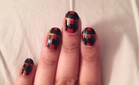 ruby plaid manicure